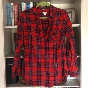 [Merona] red and navy plaid button down